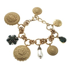 Dolce and Gabbana Flower Button Charm Gold Tone Bracelet