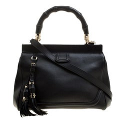 Gucci Black Leather Bold Bamboo Top Handle Bag