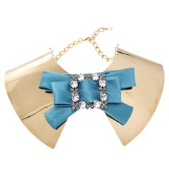 Dolce and Gabbana Blue Crystal Bow Gold Tone Collar Statement Necklace