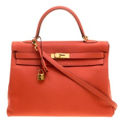 Hermes Capucine Togo Leather Gold Hardware Kelly Retourne 35 Bag