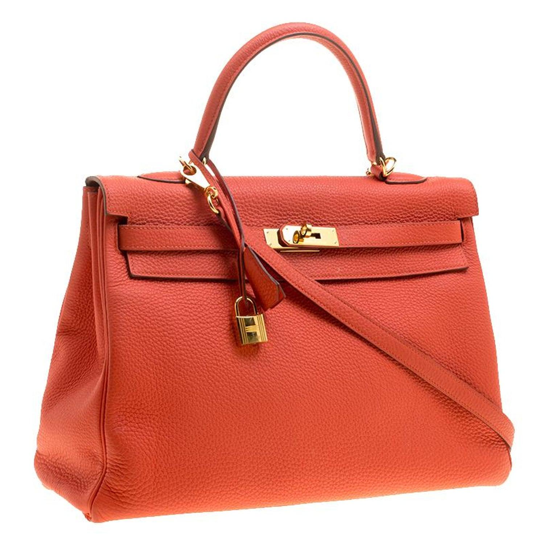 Hermes Capucine Togo Leather Gold Hardware Kelly Retourne 35 Bag For Sale  at 1stdibs e269d9896f398