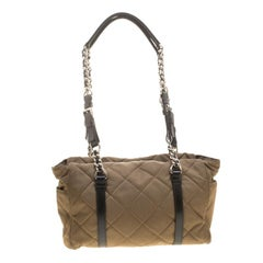 Prada Khaki Quilted Nylon Shoulder Bag