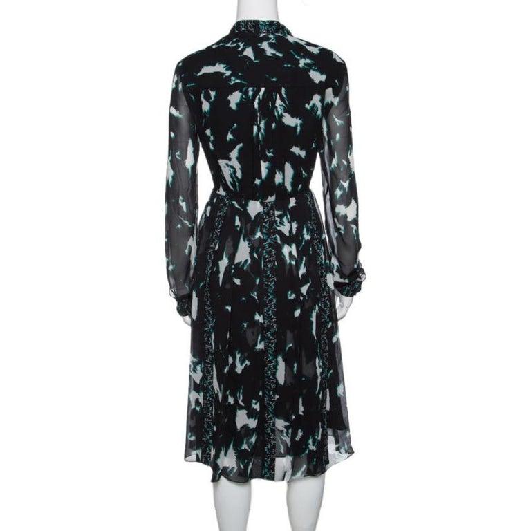 Proenza Schouler Black Printed Silk Pleated Long Sleeve Dress S In Good Condition In Dubai, Al Qouz 2
