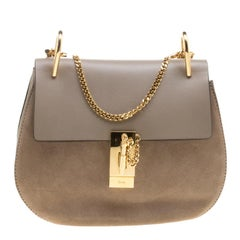 Chloe Motty Grey Leather Medium Drew Shoulder Bag