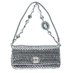 Miu Miu Silver Matelassé Leather Crystal Flap Shoulder Bag