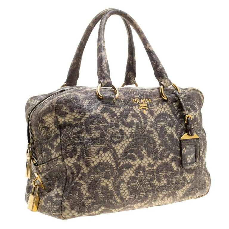ec448a2808ed Prada Beige Talco Lace Print Cervo Leather Bowling Bag In Excellent  Condition For Sale In Dubai