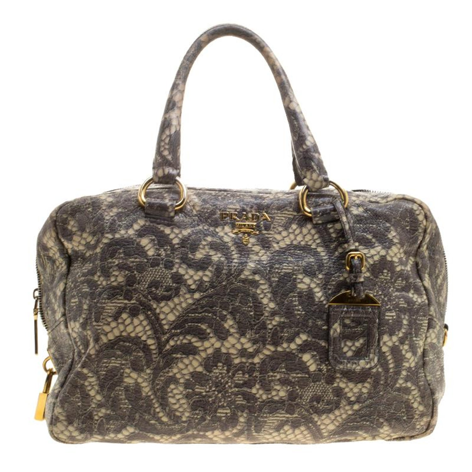 c6bfba2225ff Prada Beige Talco Lace Print Cervo Leather Bowling Bag For Sale at 1stdibs