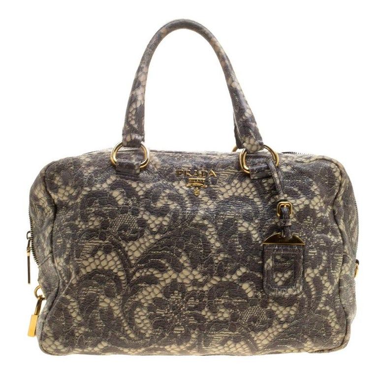 d23fc09be7ef Prada Beige Talco Lace Print Cervo Leather Bowling Bag For Sale at ...