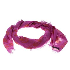 Alexander McQueen Pink Skull Print Fringed Edge Scarf
