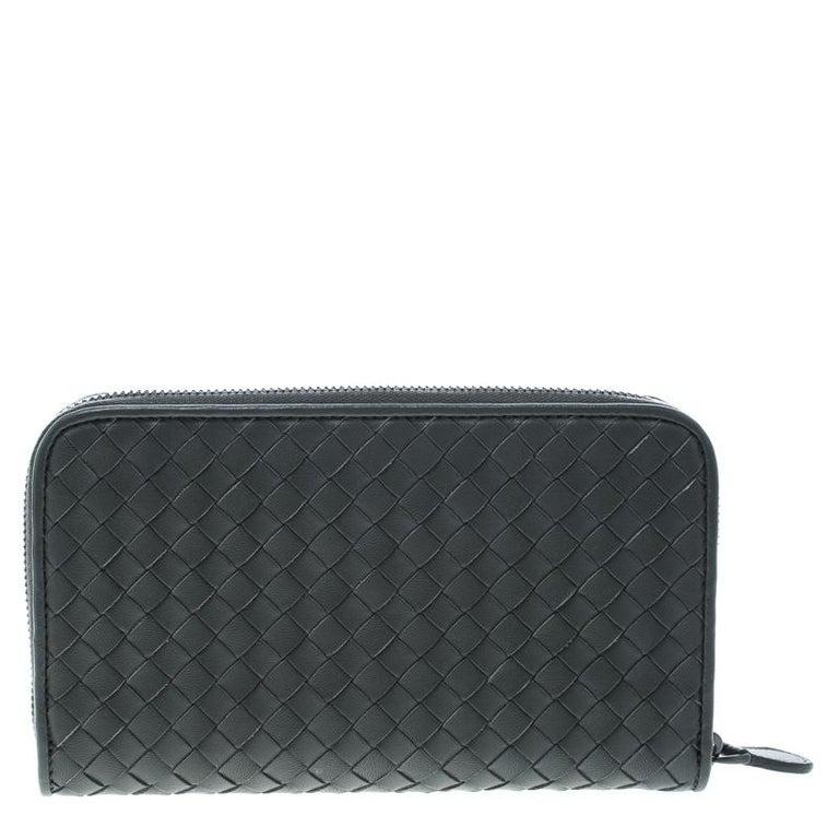 527b1f0334747 Bottega Veneta Grey Intrecciato Leather Zip Around Wallet For Sale ...