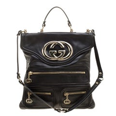 Gucci Black Leather Britt Messenger Bag