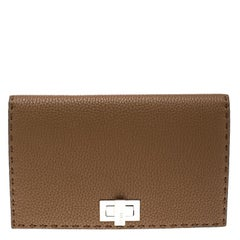 Fendi Brown Leather Mini Peekaboo Clutch