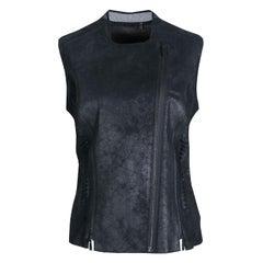 Elie Tahari Black Distressed Lamb Leather Victoria Vest M