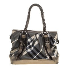 Burberry Metallic Beat Check Nylon and Leather Medium Lowry Tote