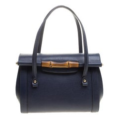 Gucci Navy Blue Leather New Bullet Bamboo Top Handle Bag