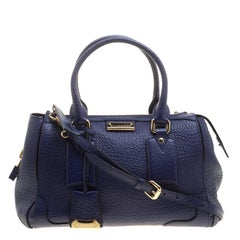 Burberry Blue Grained Leather Small Heritage Gladstone Satchel