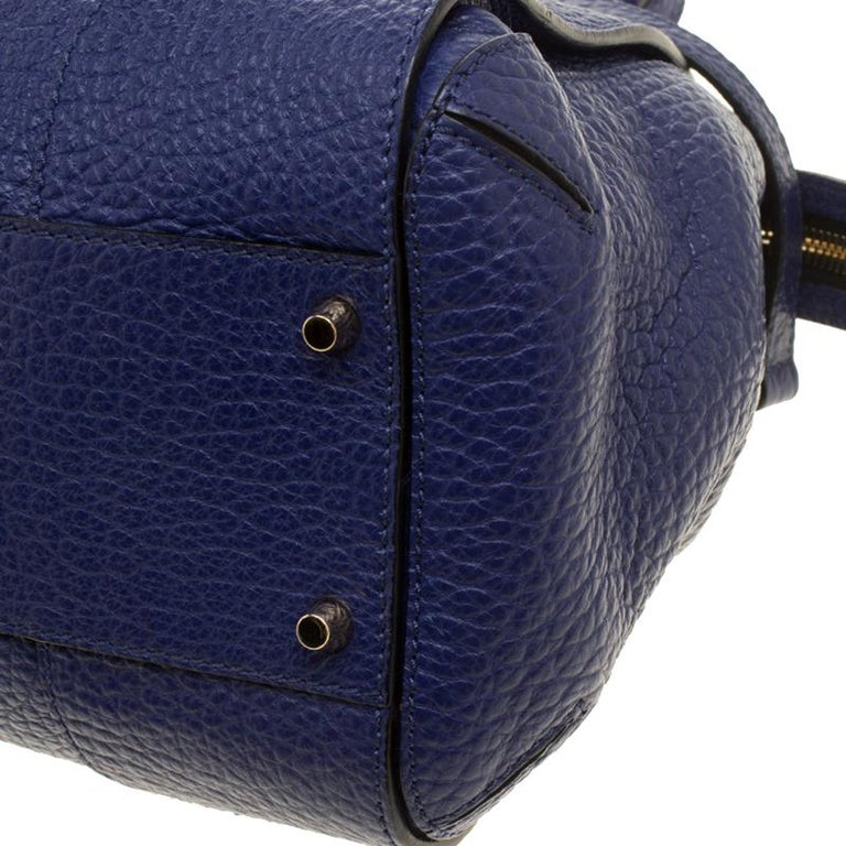 a5ad4bf1cb4c Burberry Blue Grained Leather Small Heritage Gladstone Satchel For Sale 6