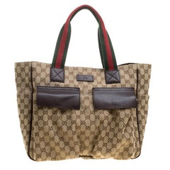 Gucci Beige/Ebony GG Canvas Medium Pocket Tote