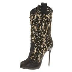 Giuseppe Zanotti Black Studded Leather Coline Peep Toe Mid Calf Boots Size 37