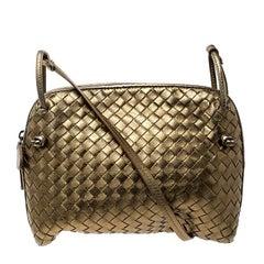 Bottega Veneta Gold Intrecciato Nappa Leather Crossbody Bag