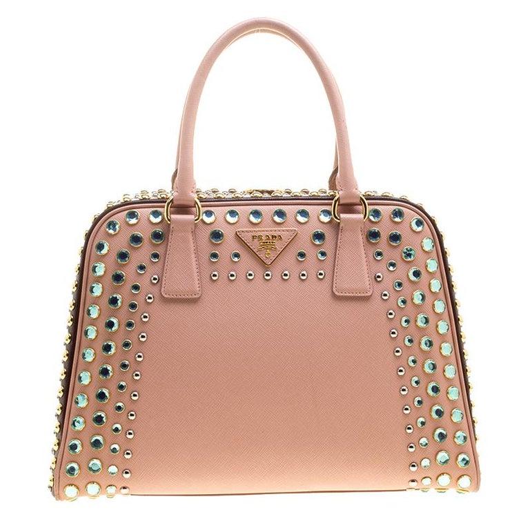 Prada Blush Pink Burgundy Saffiano Lux Leather Pyramid Frame Top Handle Bag For