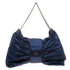 Chanel Blue Satin 2.55 Reissue Evening Bow Clutch