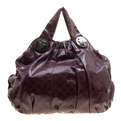 Gucci Maroon GG Crystal Coated Canvas Large Hysteria Hobo