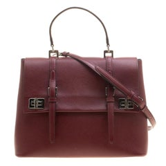 Prada Burgundy Saffiano Lux Leather Top Handle Bag