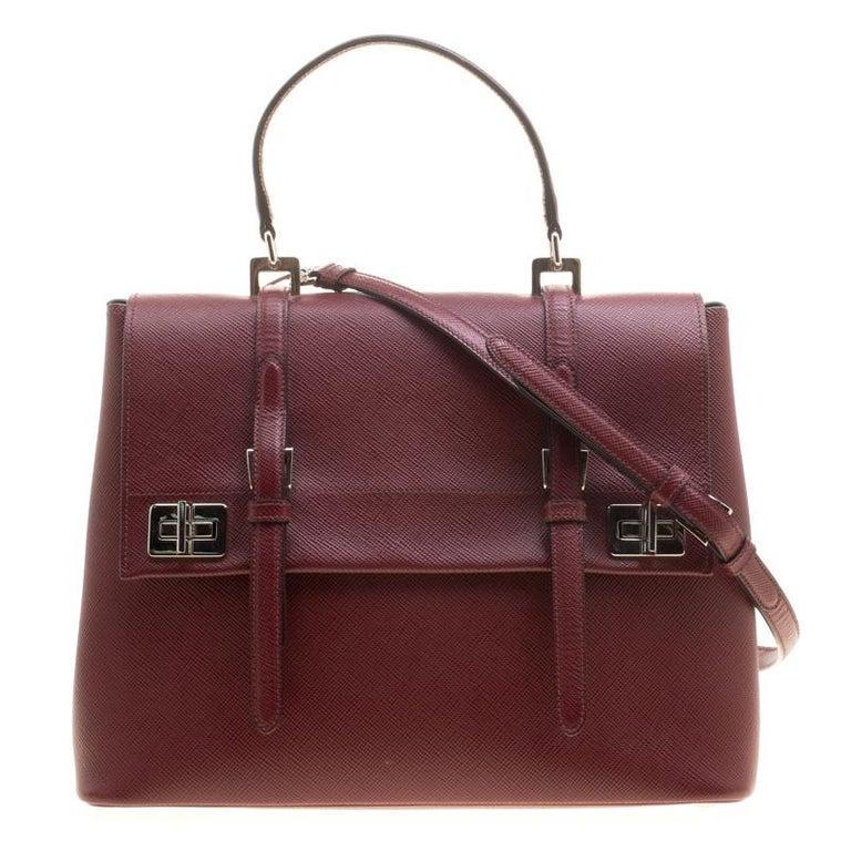 Prada Burgundy Saffiano Lux Leather Top Handle Bag For Sale