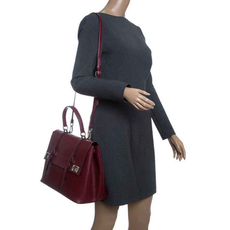 Black Prada Burgundy Saffiano Lux Leather Top Handle Bag For Sale