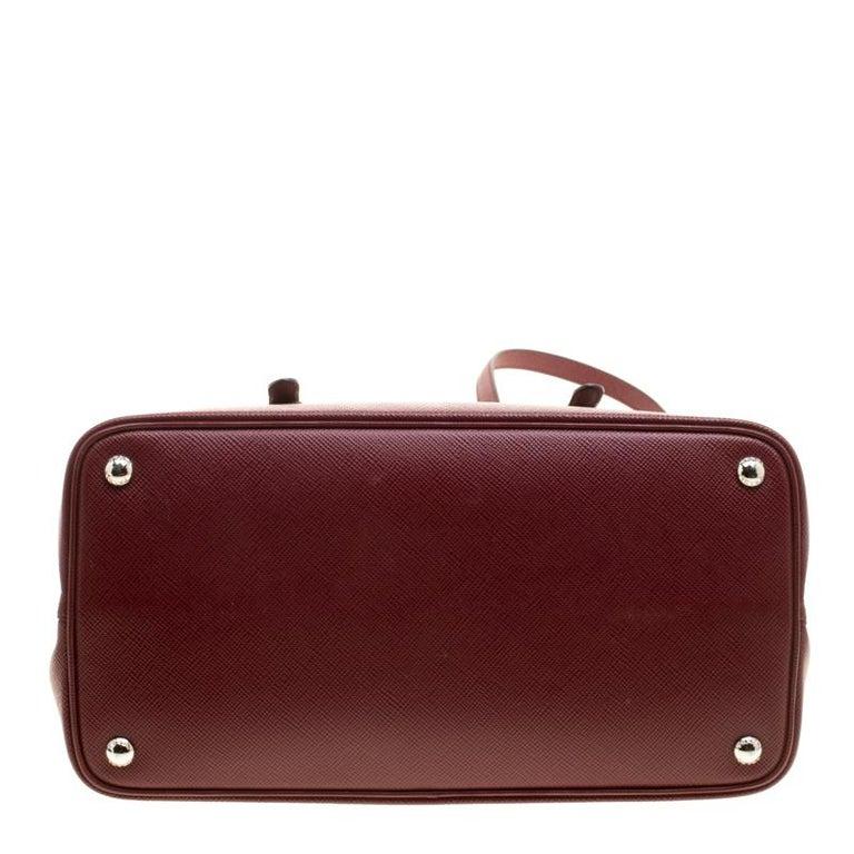 Prada Burgundy Saffiano Lux Leather Top Handle Bag For Sale 4