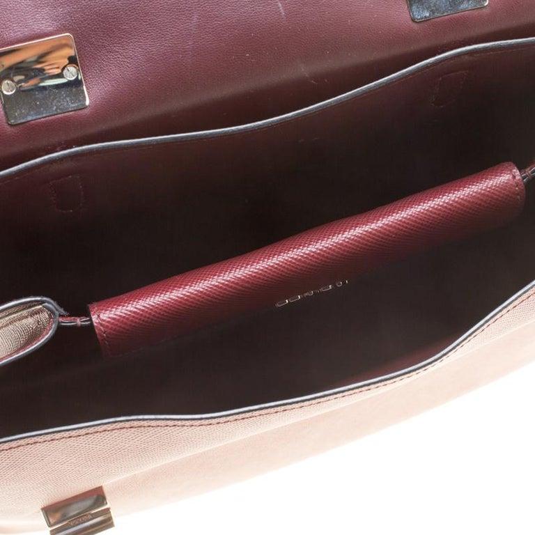 Prada Burgundy Saffiano Lux Leather Top Handle Bag For Sale 1