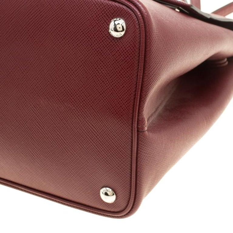 Prada Burgundy Saffiano Lux Leather Top Handle Bag For Sale 6