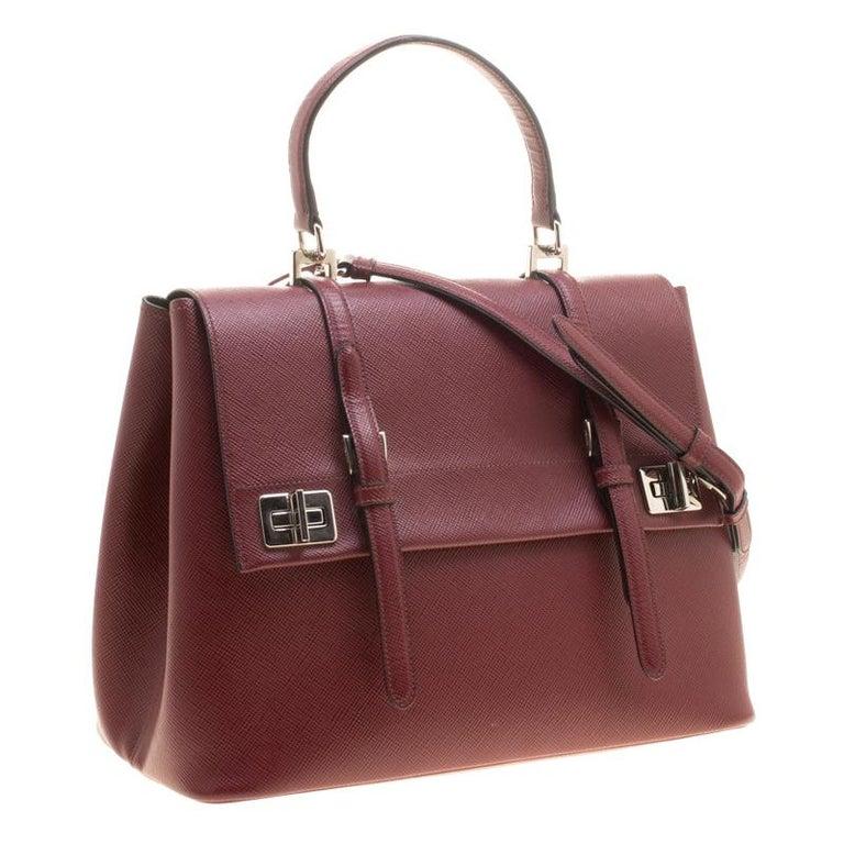Prada Burgundy Saffiano Lux Leather Top Handle Bag For Sale 5
