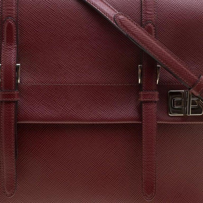 Prada Burgundy Saffiano Lux Leather Top Handle Bag For Sale 2