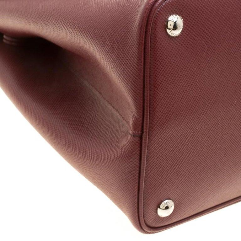 Women's Prada Burgundy Saffiano Lux Leather Top Handle Bag For Sale