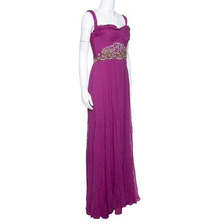 Purple Notte By Marchesa Magenta Embellished Chiffon Draped Grecian Gown S