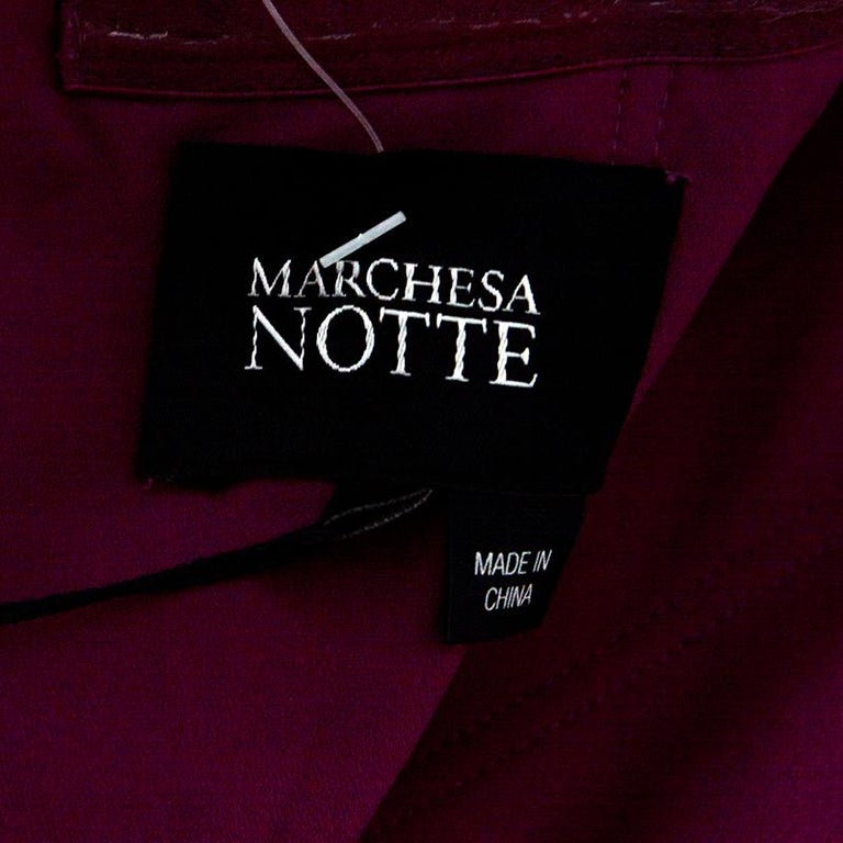 Women's Notte By Marchesa Magenta Embellished Chiffon Draped Grecian Gown S