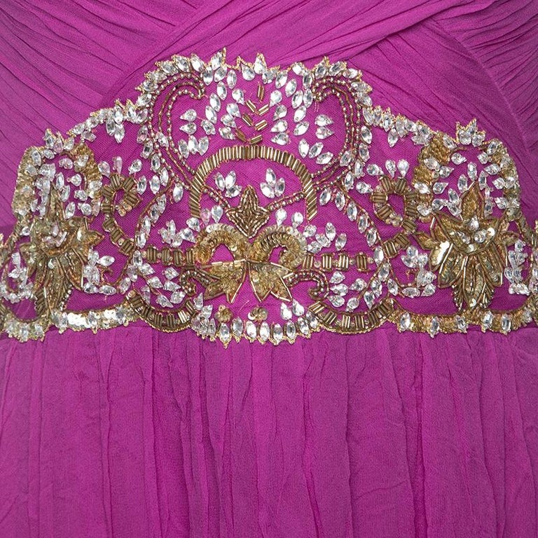 Notte By Marchesa Magenta Embellished Chiffon Draped Grecian Gown S In Good Condition In Dubai, Al Qouz 2