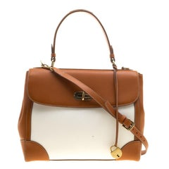Ralph Lauren Brown/White Leather and Canvas Tiffin 33 Bag