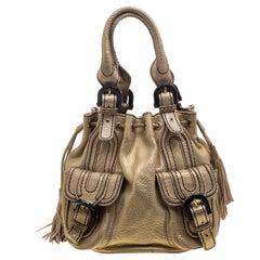 Kenzo Gold Leather Drawstring Studded Bucket Bag