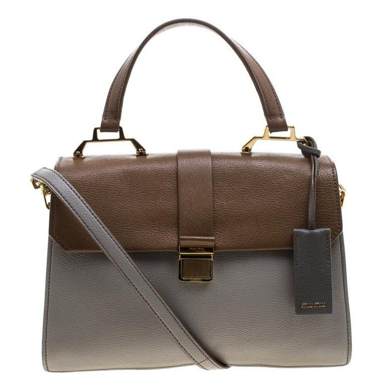 592502c86ad4 Miu Miu Grey Brown Madras Leather Shoulder Bag For Sale at 1stdibs
