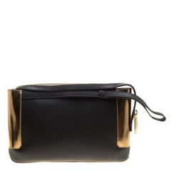 Lanvin Black/Gold Leather Le Jour Clutch