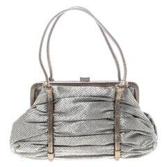Bottega Veneta Silver/Bronze Metallic Fabric Satchel