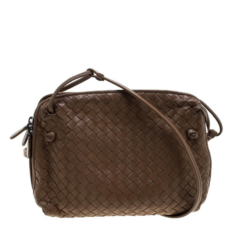 Bottega Veneta Brown Intrecciato Nappa Leather Double Zip Crossbody Bag For  Sale 80a4602141d59