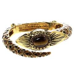 Roberto Cavalli Serpent Head Enamel Gold Tone Detailed Open Cuff Bracelet
