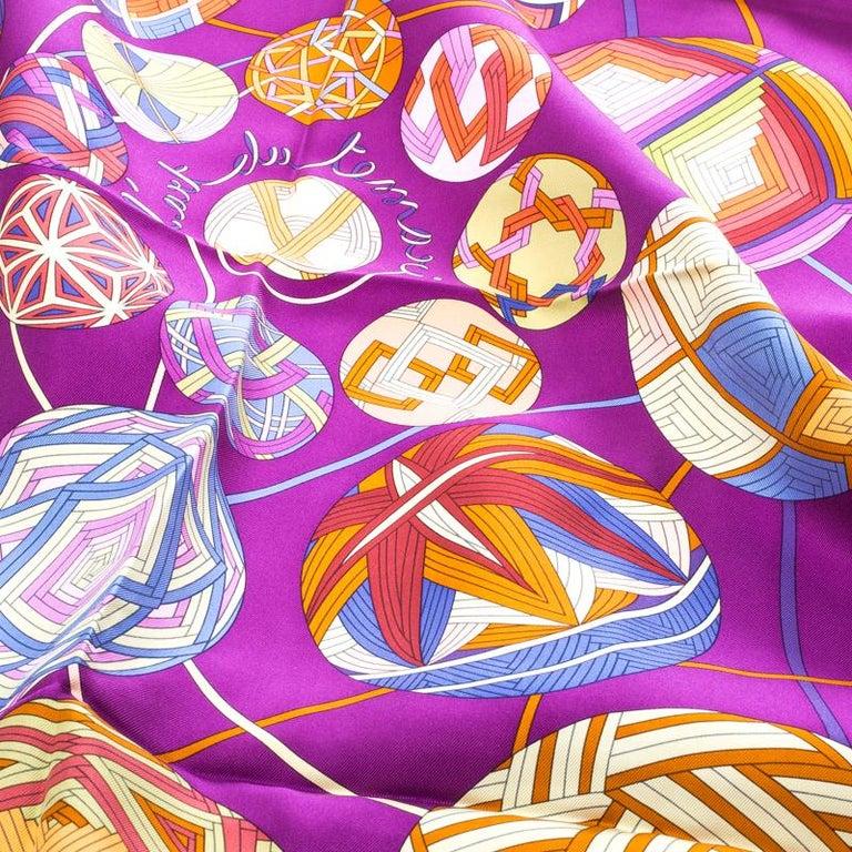 Brown Hermes Purple L'art Du Temari Printed Silk Square Scarf For Sale