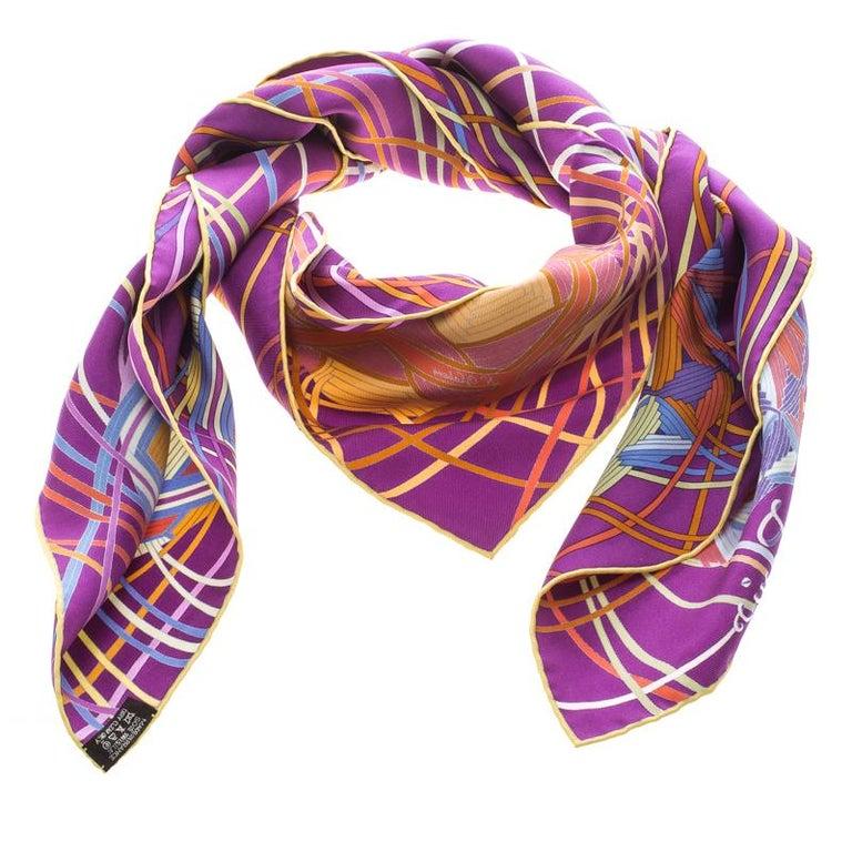 Hermes Purple L'art Du Temari Printed Silk Square Scarf For Sale