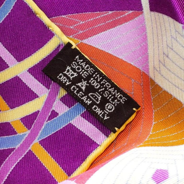 Women's Hermes Purple L'art Du Temari Printed Silk Square Scarf For Sale