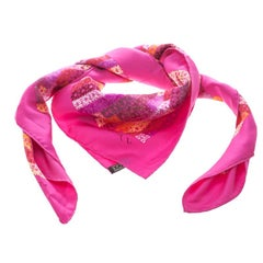 Hermes Pink The Rhythm of China Printed Silk Square Scarf